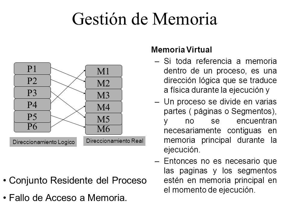 Gestión de Memoria Memoria Virtual –Si toda referencia a memoria dentro de un proceso, es una dirección lógica que se traduce a física durante la ejec
