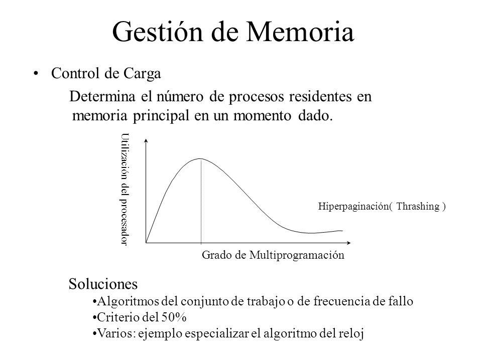 Gestión de Memoria Control de Carga Determina el número de procesos residentes en memoria principal en un momento dado. Grado de Multiprogramación Uti