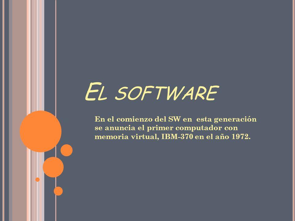 E L SOFTWARE En el comienzo del SW en esta generación se anuncia el primer computador con memoria virtual, IBM-370 en el año 1972.