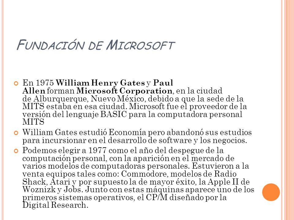 F UNDACIÓN DE M ICROSOFT En 1975 William Henry Gates y Paul Allen forman Microsoft Corporation, en la ciudad de Alburquerque, Nuevo México, debido a q