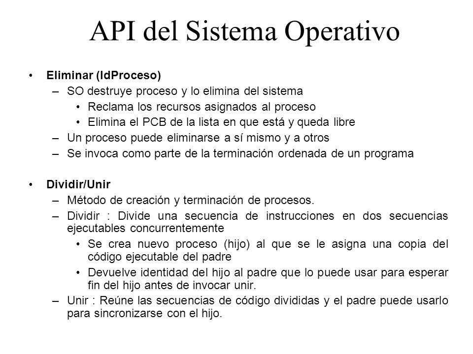 API del Sistema Operativo Eliminar (IdProceso) –SO destruye proceso y lo elimina del sistema Reclama los recursos asignados al proceso Elimina el PCB