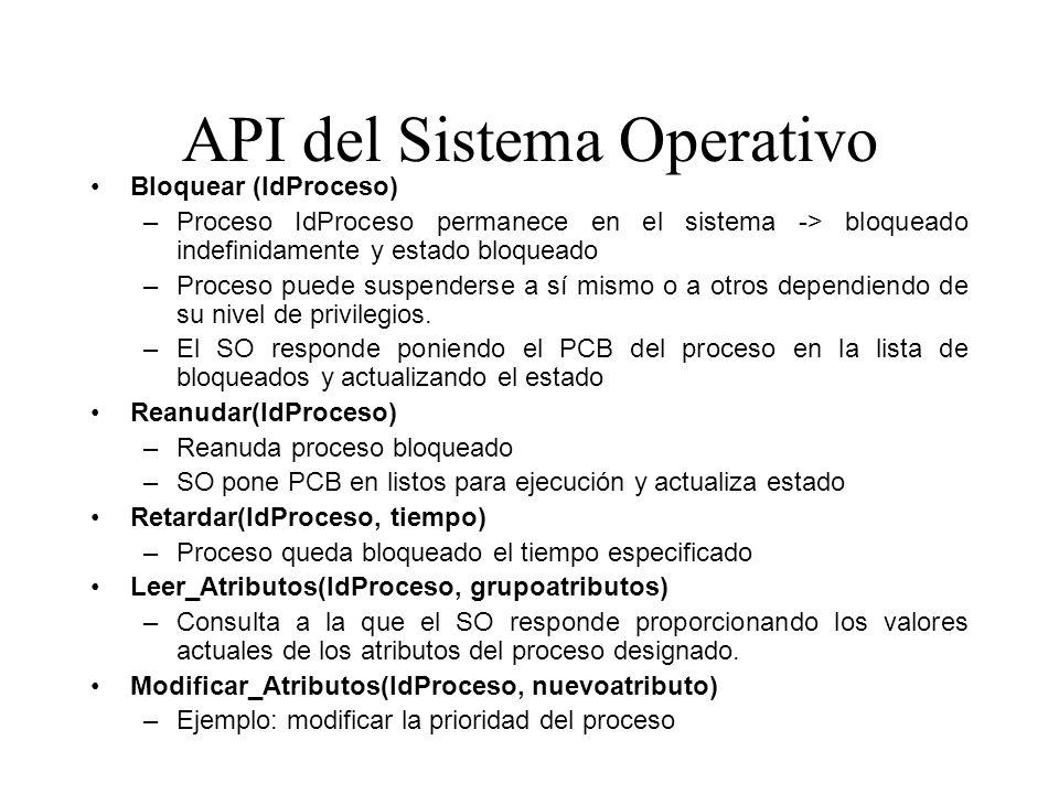 API del Sistema Operativo Bloquear (IdProceso) –Proceso IdProceso permanece en el sistema -> bloqueado indefinidamente y estado bloqueado –Proceso pue