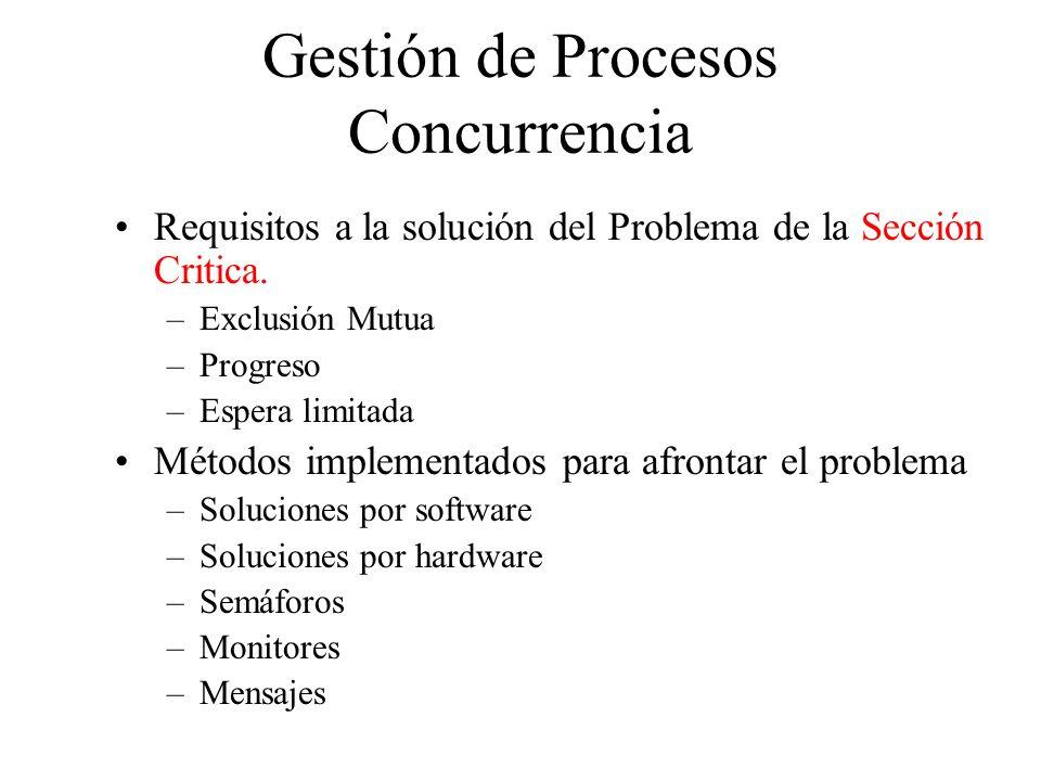 Gestión de Procesos Concurrencia Requisitos a la solución del Problema de la Sección Critica. –Exclusión Mutua –Progreso –Espera limitada Métodos impl