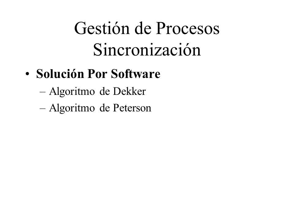 Gestión de Procesos Sincronización Solución Por Software –Algoritmo de Dekker –Algoritmo de Peterson