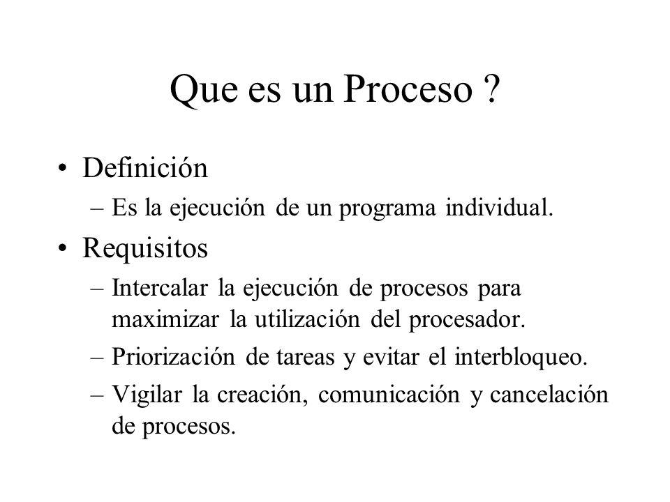 Que es un Proceso ? Definición –Es la ejecución de un programa individual. Requisitos –Intercalar la ejecución de procesos para maximizar la utilizaci