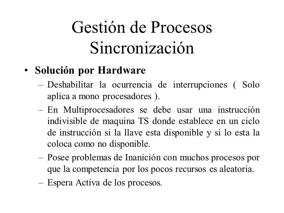 Gestión de Procesos Sincronización Solución por Hardware –Deshabilitar la ocurrencia de interrupciones ( Solo aplica a mono procesadores ). –En Multip