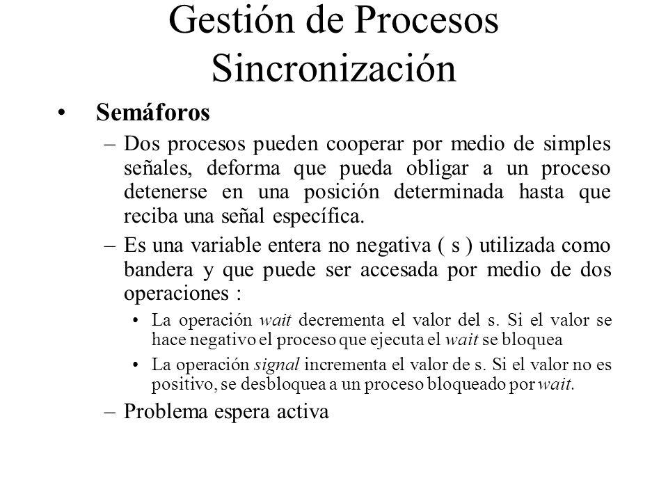 Semáforos –Dos procesos pueden cooperar por medio de simples señales, deforma que pueda obligar a un proceso detenerse en una posición determinada has