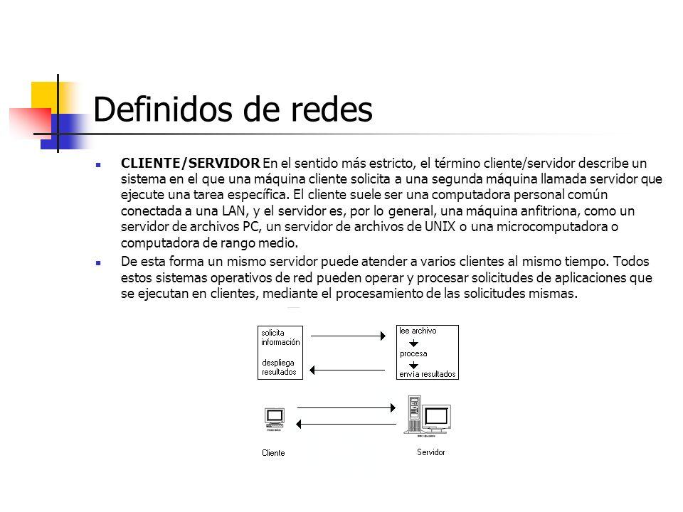 Definidos de redes CLIENTE/SERVIDOR En el sentido más estricto, el término cliente/servidor describe un sistema en el que una máquina cliente solicita