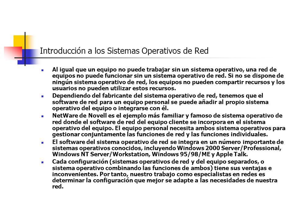 Introducción a los Sistemas Operativos de Red Al igual que un equipo no puede trabajar sin un sistema operativo, una red de equipos no puede funcionar