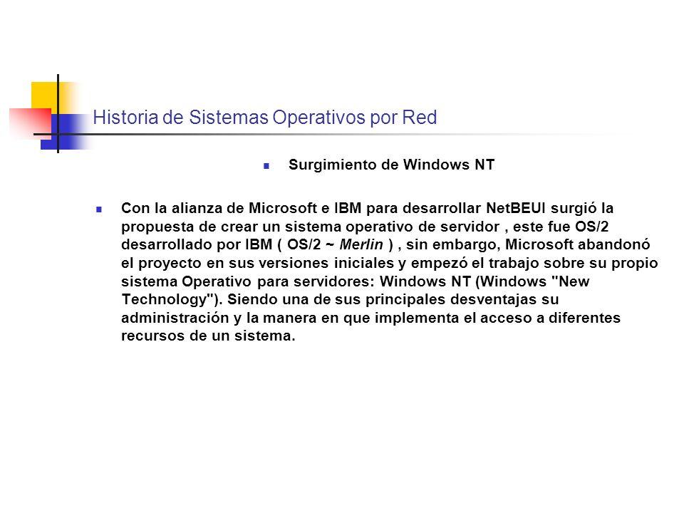 Historia de Sistemas Operativos por Red Surgimiento de Windows NT Con la alianza de Microsoft e IBM para desarrollar NetBEUI surgió la propuesta de cr