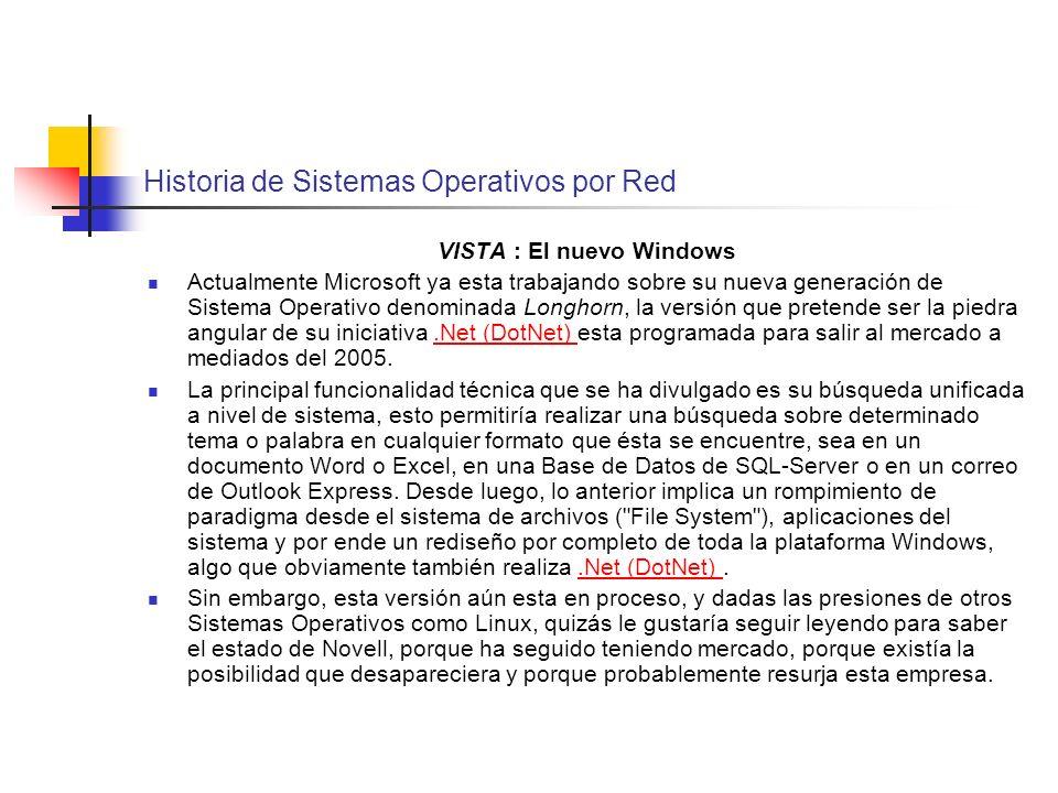 Historia de Sistemas Operativos por Red VISTA : El nuevo Windows Actualmente Microsoft ya esta trabajando sobre su nueva generación de Sistema Operati