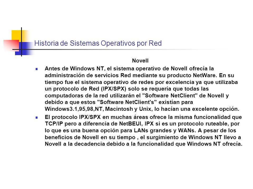 Historia de Sistemas Operativos por Red Novell Antes de Windows NT, el sistema operativo de Novell ofrecía la administración de servicios Red mediante