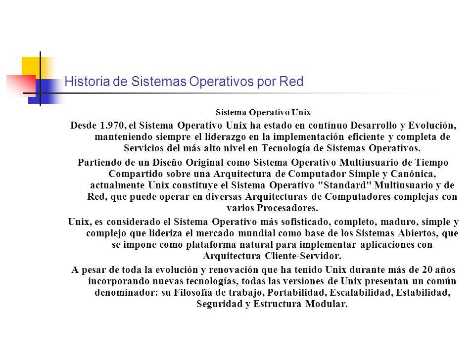 Historia de Sistemas Operativos por Red Sistema Operativo Unix Desde 1.970, el Sistema Operativo Unix ha estado en contínuo Desarrollo y Evolución, ma