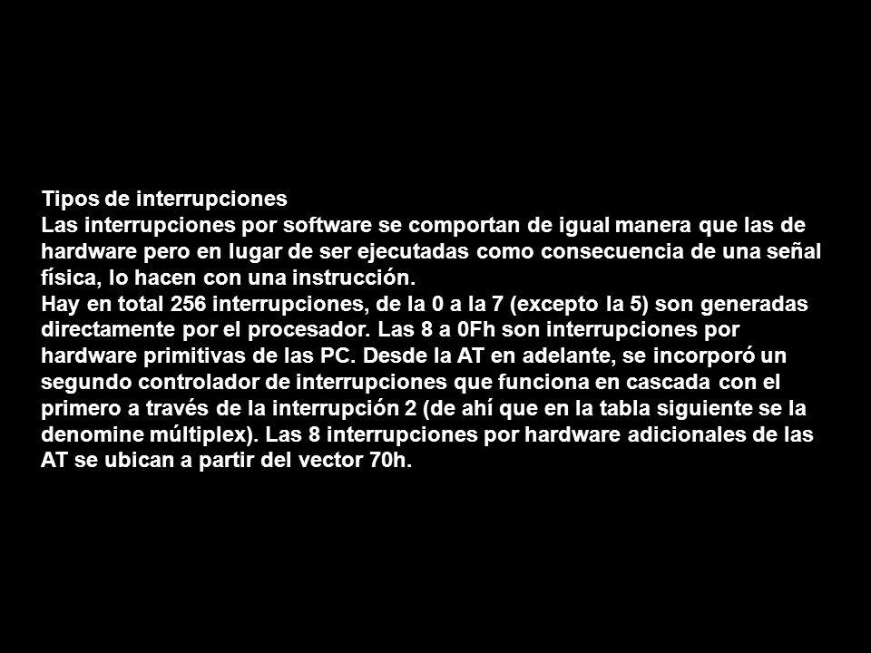 Tipos de interrupciones Las interrupciones por software se comportan de igual manera que las de hardware pero en lugar de ser ejecutadas como consecue