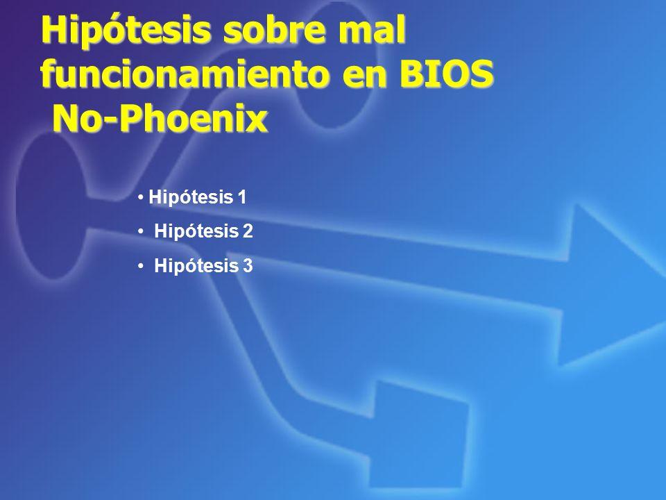 Hipótesis sobre mal funcionamiento en BIOS No-Phoenix Hipótesis 1 Hipótesis 2 Hipótesis 3
