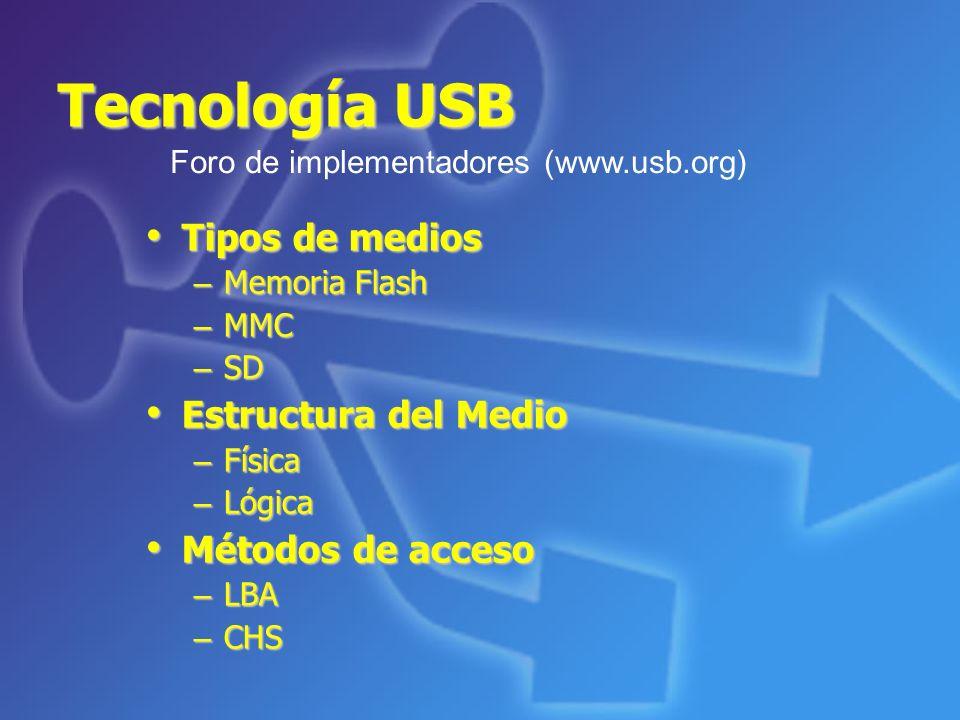 Tecnología USB Tipos de medios Tipos de medios – Memoria Flash – MMC – SD Estructura del Medio Estructura del Medio – Física – Lógica Métodos de acces