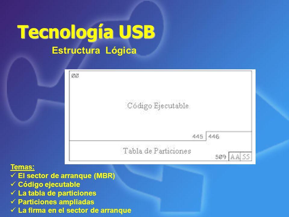 Tecnología USB Componentes Los métodos de acceso a las unidades USB LBA (Almacenamiento secuencial) CHS (Cylinder, Head, Sector) Existen dos tecnologías: Memoria flash de uso popular: NOR y NAND ECC (Corrección de errores)
