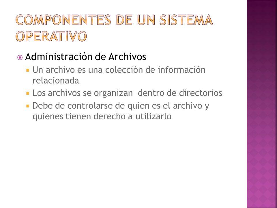 Administración de Archivos Un archivo es una colección de información relacionada Los archivos se organizan dentro de directorios Debe de controlarse