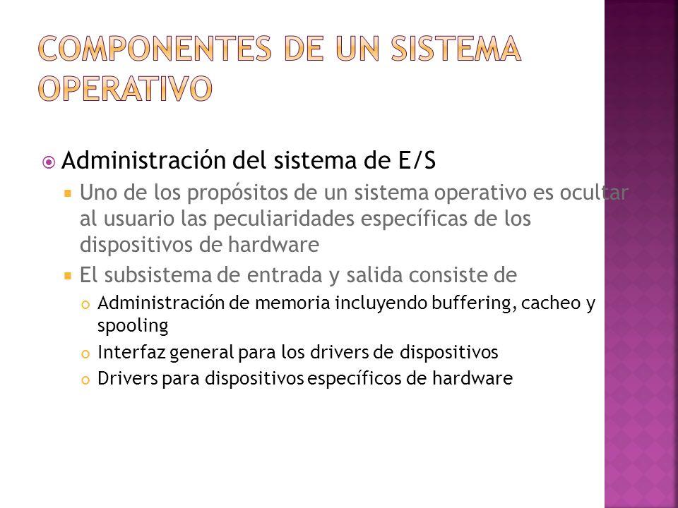 Administración del sistema de E/S Uno de los propósitos de un sistema operativo es ocultar al usuario las peculiaridades específicas de los dispositiv