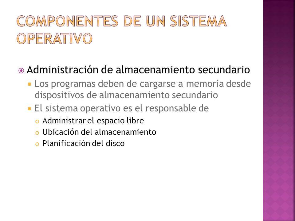 Administración de almacenamiento secundario Los programas deben de cargarse a memoria desde dispositivos de almacenamiento secundario El sistema opera