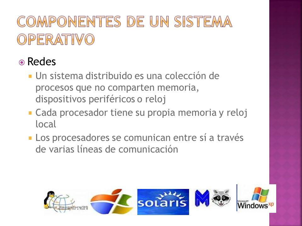 Redes Un sistema distribuido es una colección de procesos que no comparten memoria, dispositivos periféricos o reloj Cada procesador tiene su propia m