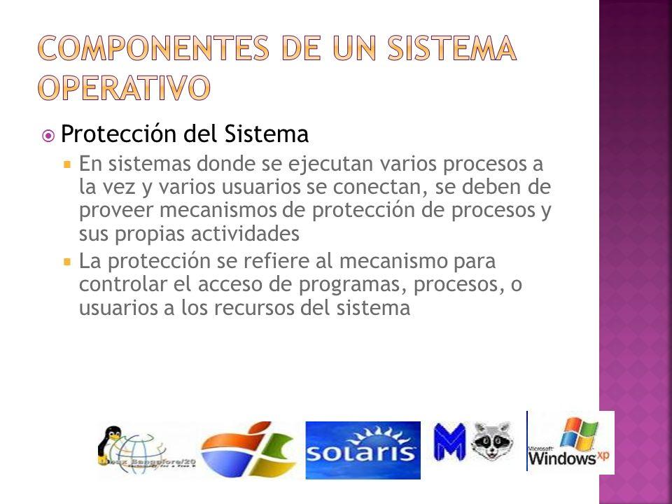 Protección del Sistema En sistemas donde se ejecutan varios procesos a la vez y varios usuarios se conectan, se deben de proveer mecanismos de protecc