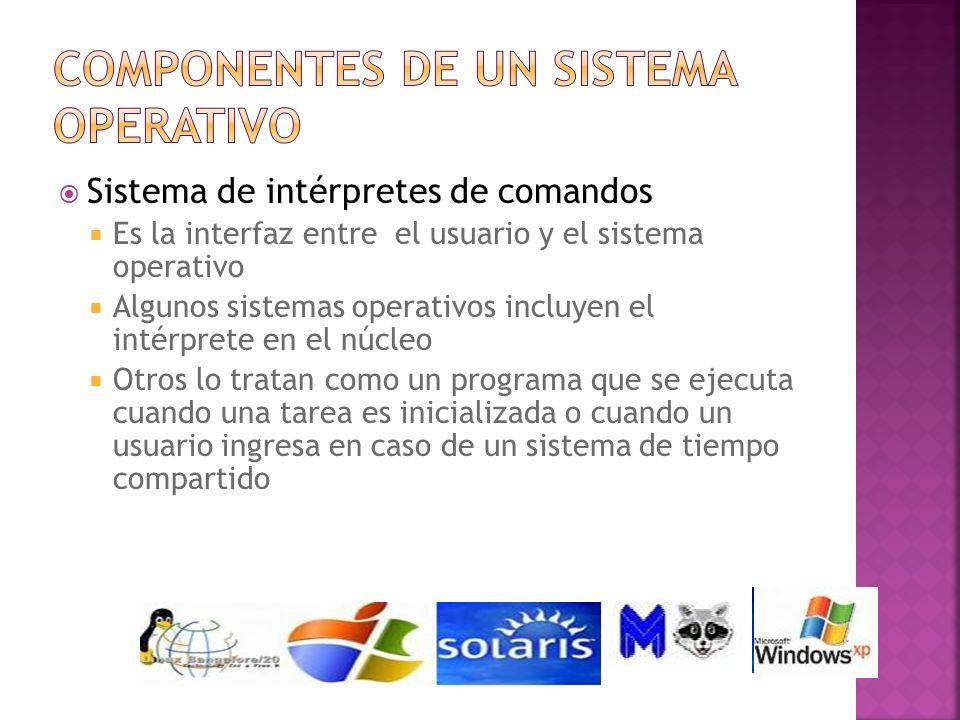 Sistema de intérpretes de comandos Es la interfaz entre el usuario y el sistema operativo Algunos sistemas operativos incluyen el intérprete en el núc
