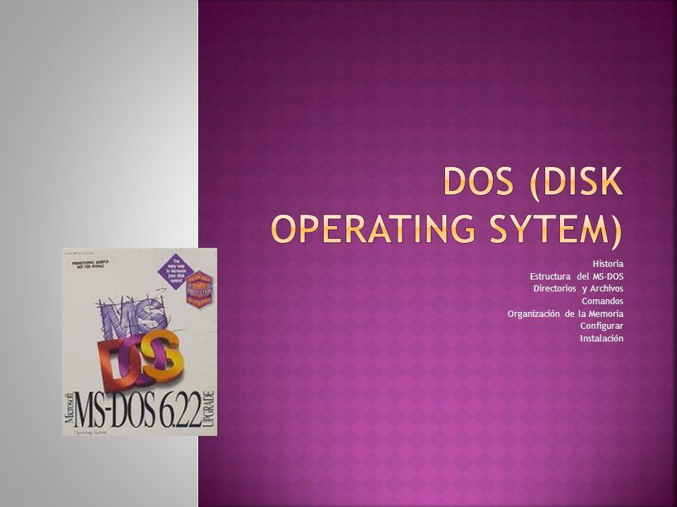 Historia Estructura del MS-DOS Directorios y Archivos Comandos Organización de la Memoria Configurar Instalación