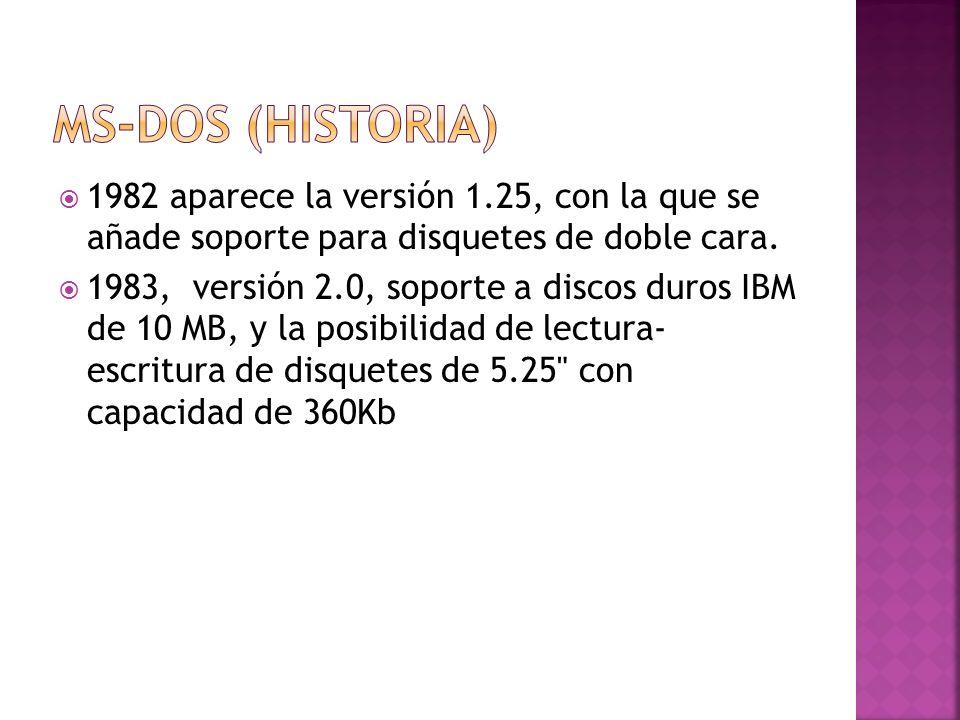 1982 aparece la versión 1.25, con la que se añade soporte para disquetes de doble cara. 1983, versión 2.0, soporte a discos duros IBM de 10 MB, y la p
