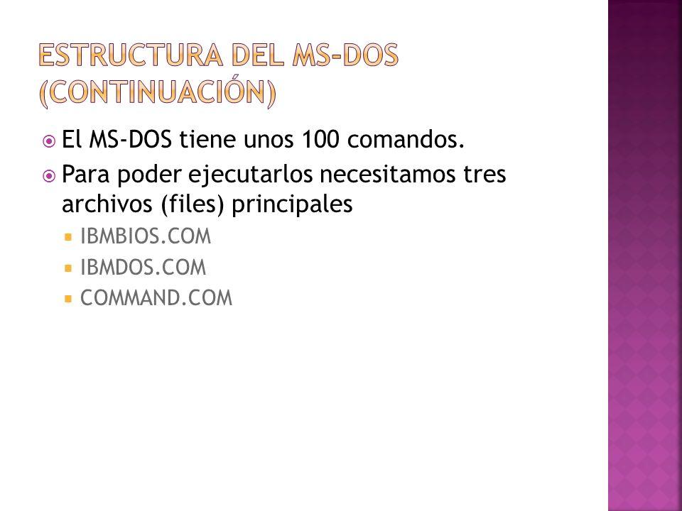 El MS-DOS tiene unos 100 comandos. Para poder ejecutarlos necesitamos tres archivos (files) principales IBMBIOS.COM IBMDOS.COM COMMAND.COM