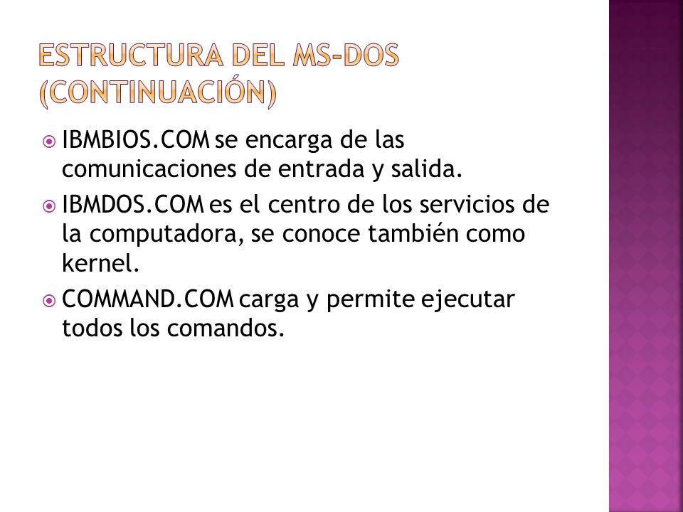 IBMBIOS.COM se encarga de las comunicaciones de entrada y salida. IBMDOS.COM es el centro de los servicios de la computadora, se conoce también como k