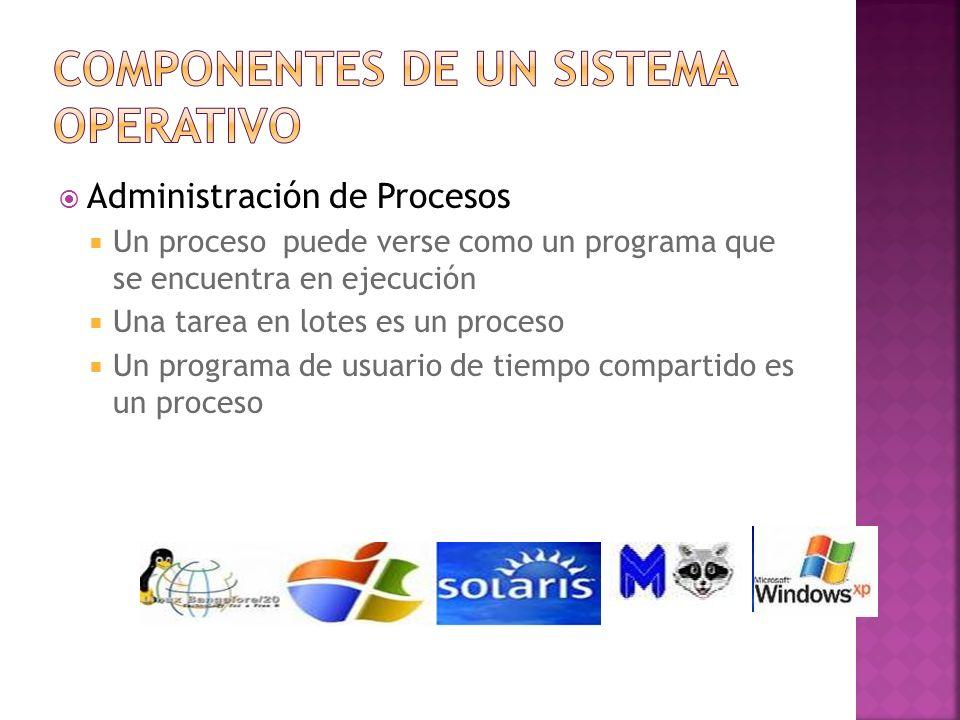 Administración de Procesos Un proceso puede verse como un programa que se encuentra en ejecución Una tarea en lotes es un proceso Un programa de usuar