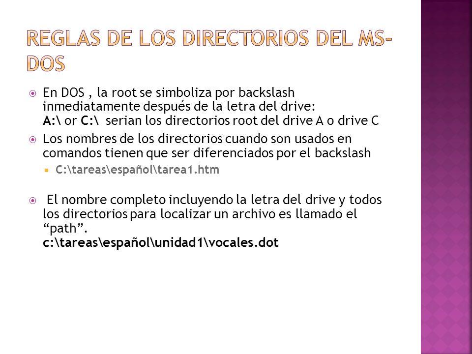 En DOS, la root se simboliza por backslash inmediatamente después de la letra del drive: A:\ or C:\ serian los directorios root del drive A o drive C