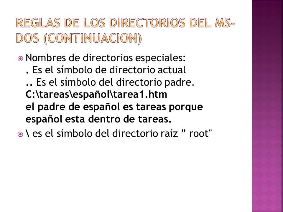 Nombres de directorios especiales:. Es el símbolo de directorio actual.. Es el símbolo del directorio padre. C:\tareas\español\tarea1.htm el padre de