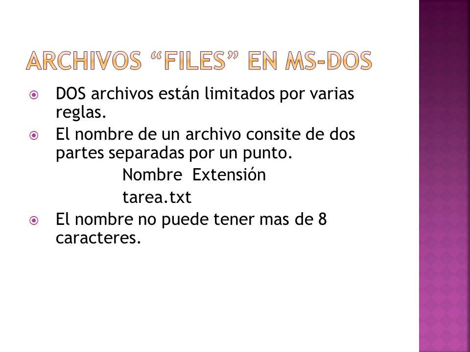 DOS archivos están limitados por varias reglas. El nombre de un archivo consite de dos partes separadas por un punto. Nombre Extensión tarea.txt El no