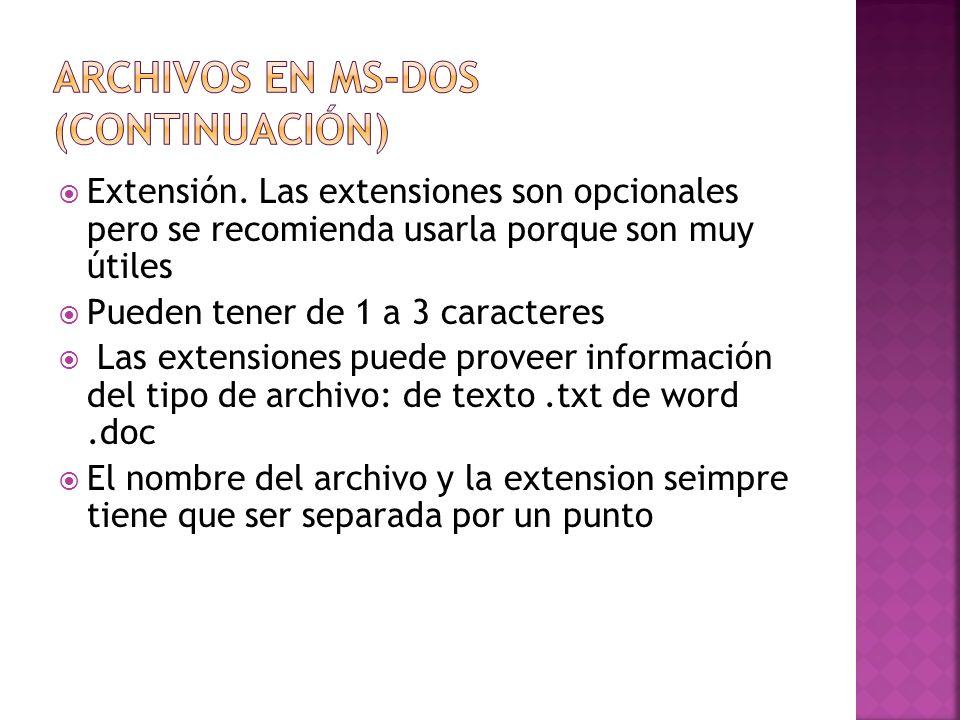 Extensión. Las extensiones son opcionales pero se recomienda usarla porque son muy útiles Pueden tener de 1 a 3 caracteres Las extensiones puede prove