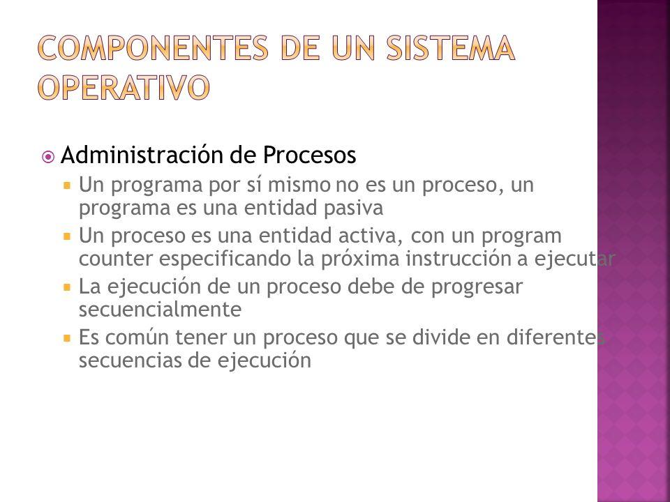 Administración de Procesos Un proceso es la unidad de trabajo del sistema El sistema operativo es responsable de ejecutar las siguientes instrucciones con respecto a la administración de procesos Creación y borrado de procesos de usuario y sistema Suspensión o terminación de procesos