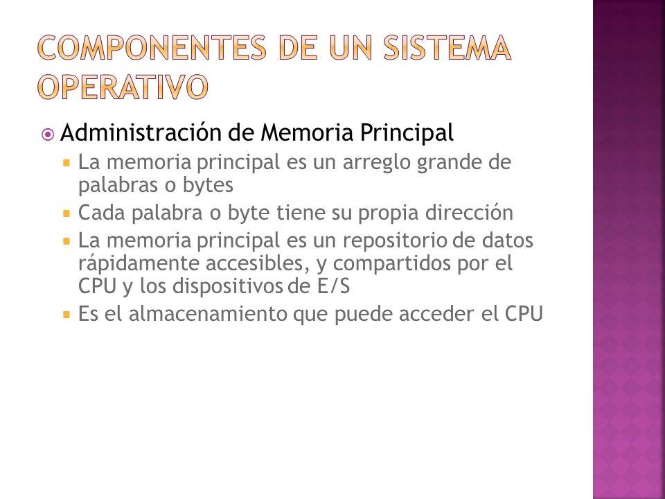 Administración de Memoria Principal La memoria principal es un arreglo grande de palabras o bytes Cada palabra o byte tiene su propia dirección La mem