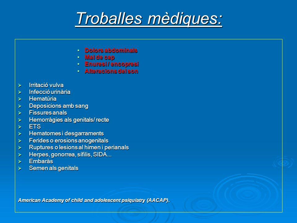 Troballes mèdiques: Dolors abdominalsDolors abdominals Mal de capMal de cap Enuresi / encopresiEnuresi / encopresi Alteracions del sonAlteracions del