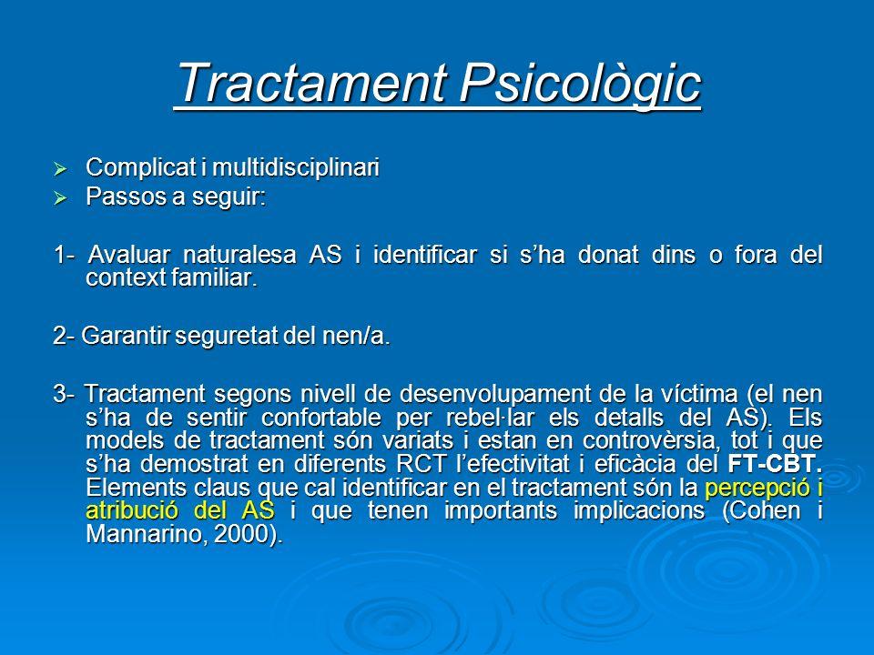 Tractament Psicològic Complicat i multidisciplinari Complicat i multidisciplinari Passos a seguir: Passos a seguir: 1- Avaluar naturalesa AS i identif