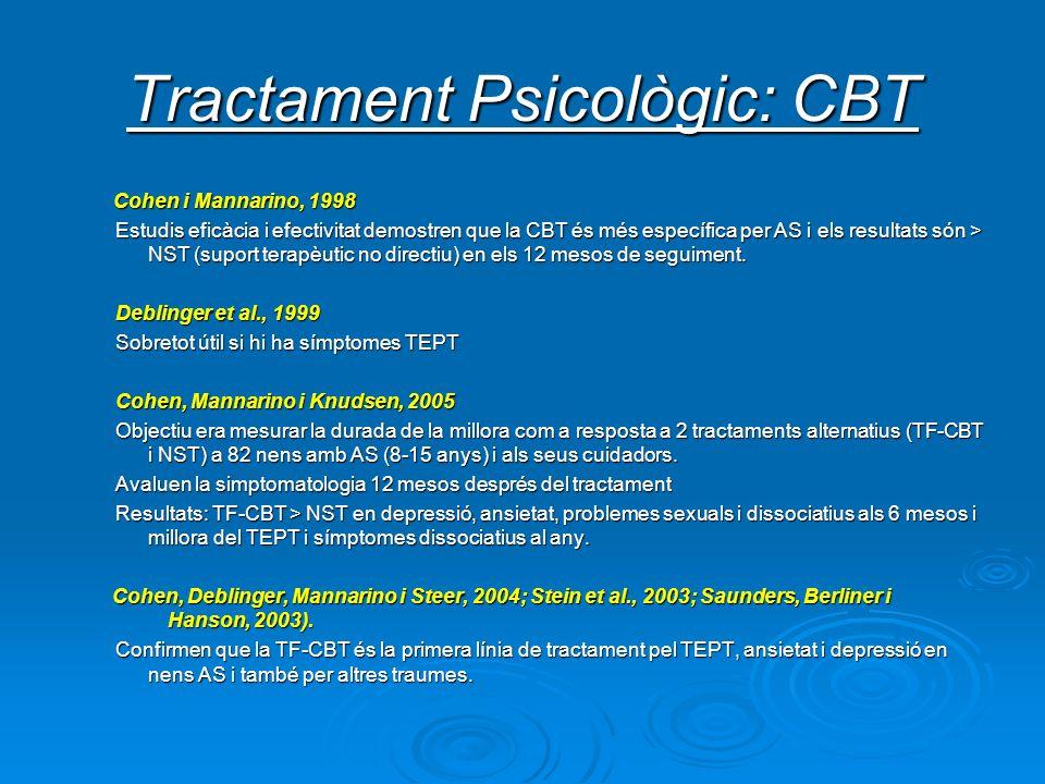 Tractament Psicològic: CBT Cohen i Mannarino, 1998 Cohen i Mannarino, 1998 Estudis eficàcia i efectivitat demostren que la CBT és més específica per A