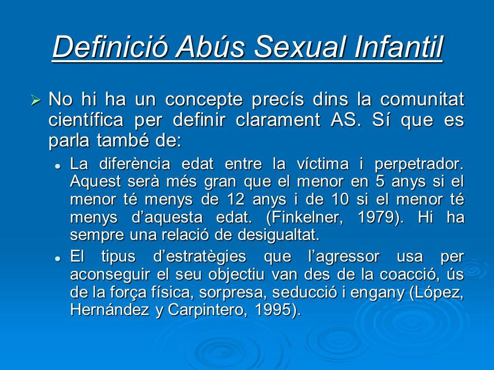 Definició Abús Sexual Infantil No hi ha un concepte precís dins la comunitat científica per definir clarament AS. Sí que es parla també de: No hi ha u