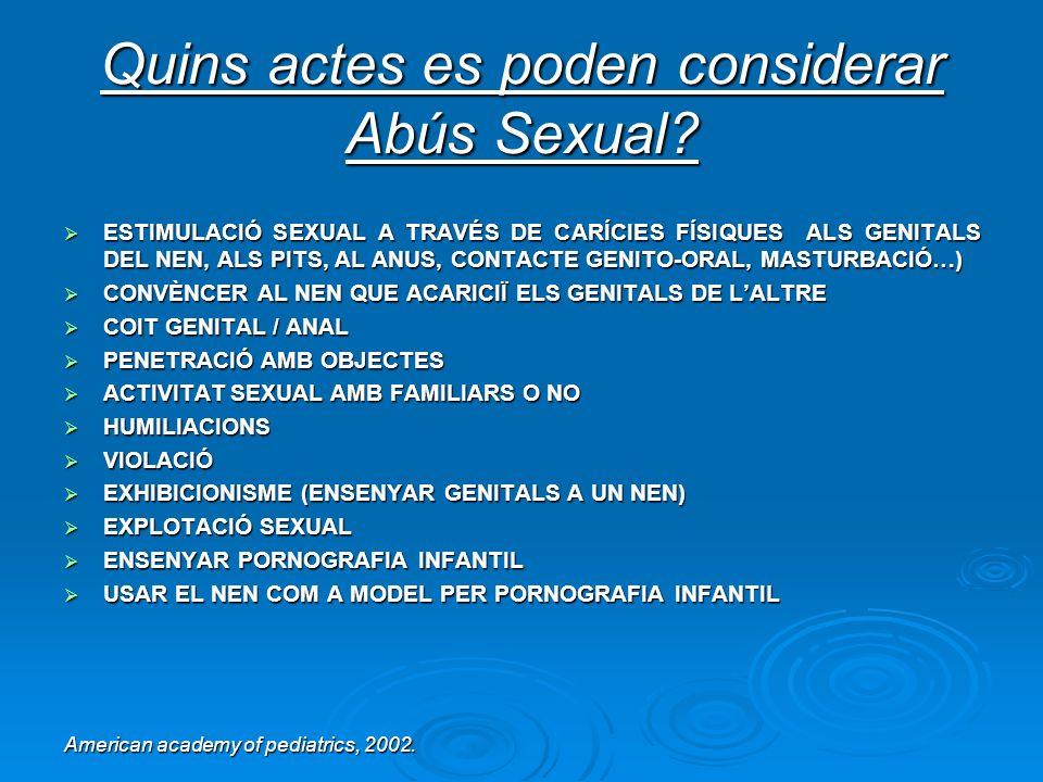 Quins actes es poden considerar Abús Sexual? ESTIMULACIÓ SEXUAL A TRAVÉS DE CARÍCIES FÍSIQUES ALS GENITALS DEL NEN, ALS PITS, AL ANUS, CONTACTE GENITO