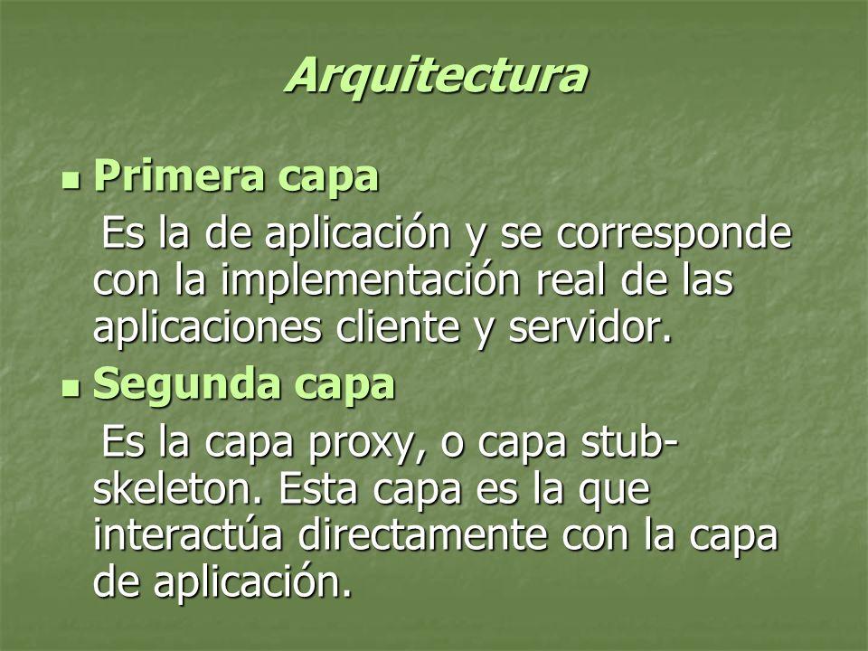 Arquitectura Primera capa Primera capa Es la de aplicación y se corresponde con la implementación real de las aplicaciones cliente y servidor.