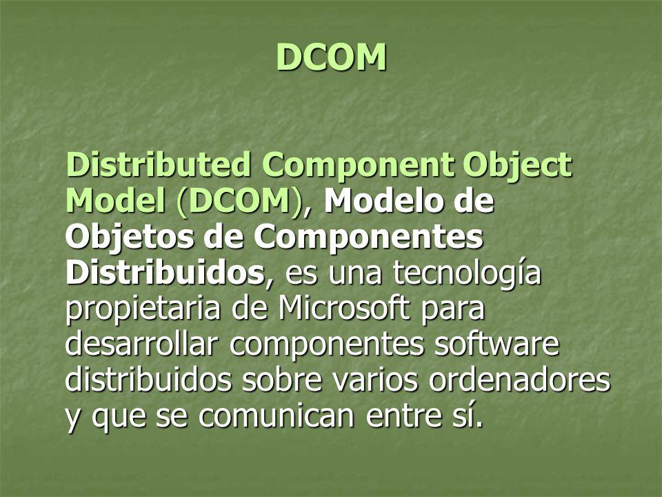 DCOM Distributed Component Object Model (DCOM), Modelo de Objetos de Componentes Distribuidos, es una tecnología propietaria de Microsoft para desarrollar componentes software distribuidos sobre varios ordenadores y que se comunican entre sí.