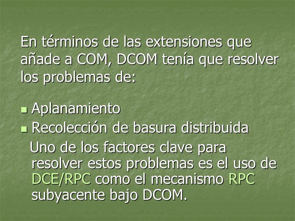En términos de las extensiones que añade a COM, DCOM tenía que resolver los problemas de: Aplanamiento Aplanamiento Recolección de basura distribuida Recolección de basura distribuida Uno de los factores clave para resolver estos problemas es el uso de DCE/RPC como el mecanismo RPC subyacente bajo DCOM.