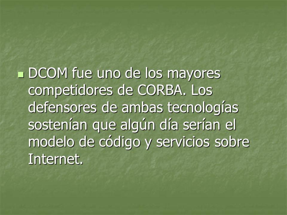 DCOM fue uno de los mayores competidores de CORBA.