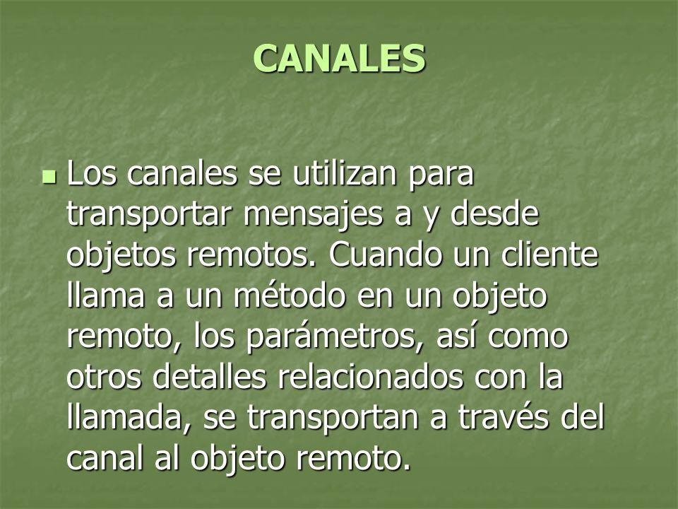 CANALES Los canales se utilizan para transportar mensajes a y desde objetos remotos.
