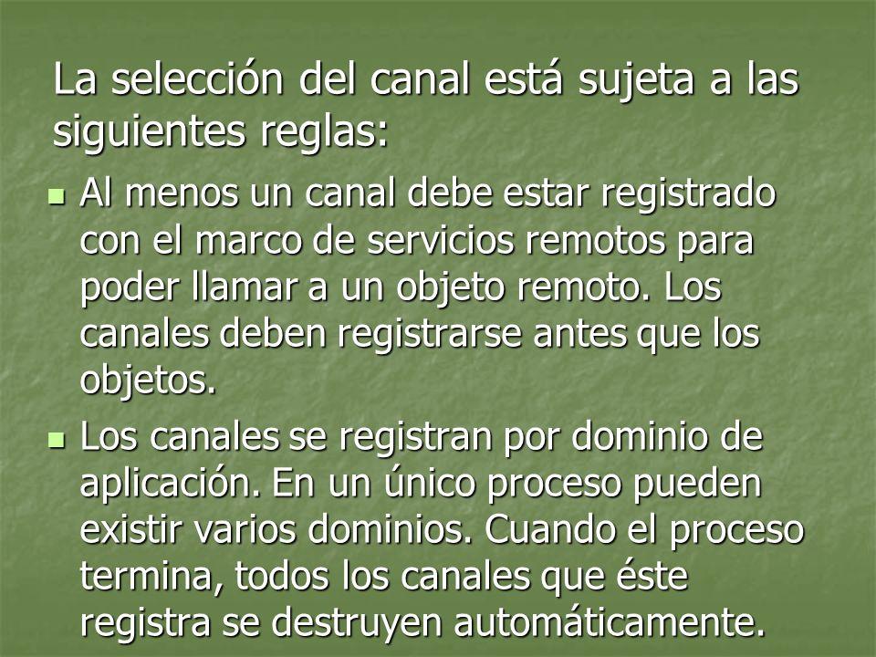 La selección del canal está sujeta a las siguientes reglas: Al menos un canal debe estar registrado con el marco de servicios remotos para poder llamar a un objeto remoto.