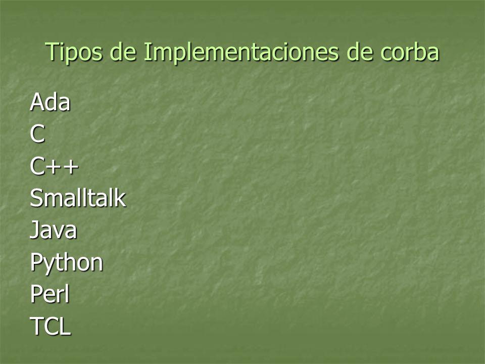 Tipos de Implementaciones de corba AdaCC++SmalltalkJavaPythonPerlTCL